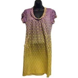 Elie Tahari yellow and purple stretch silk dress